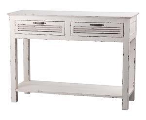 Consola con 2 cajones en madera de bayur y DM Regate– blanco