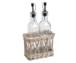 Conjunto de aceitero y vinagrera en ratán y vidrio