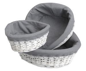 Set de 3 cestas en mimbre y tela - blanco y gris