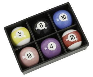 Set de 6 bolas de billar de porcelana