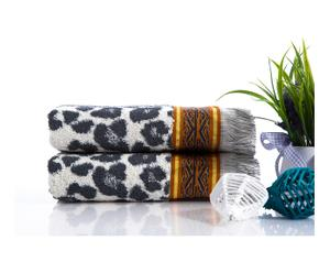Set de 2 toallas de lavabo en algodón Angelina, gris – 50x90