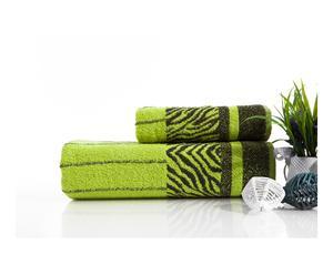 Toalla de lavabo y toalla de ducha en algodón Aleksandra - verde