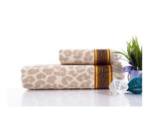 Toalla de lavabo y toalla de ducha en algodón Angelina - crema