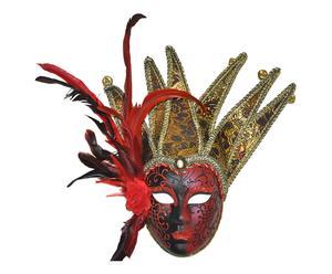 Máscara veneciana de polirresina - rojo, negro y oro