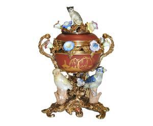 Quemador de esencias de porcelana y bronce