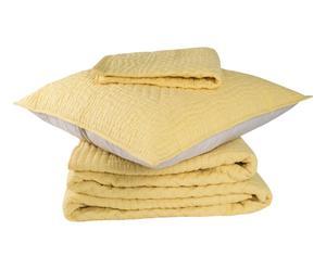 Set de colcha de algodón y 2 fundas de almohada, amarillo y blanco – 260x240