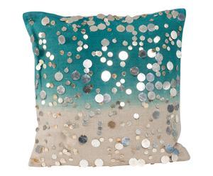 Cojín de lino y lentejuelas, azul – 40x40