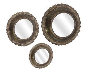 Set de 3 espejos en metal, marrón 3 - Ø46