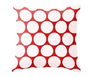 Funda de cojín de algodón Vanmala - rojo y blanco