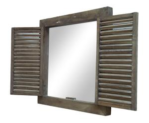 Espejo de madera en forma de ventana