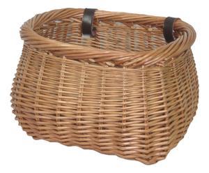 Cesta para bicicleta en mimbre y cuero, marrón – 35x30
