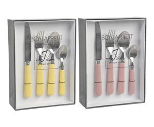 Set de 48 cubiertos en inoxidable y plástico - amarillo y rosa