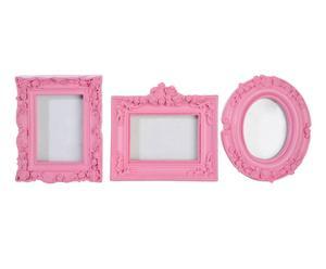 Set de 3 marcos de fotos, rosa - 19x21