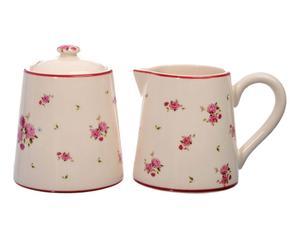 Set de azucarera y jarra para leche en dolomita - blanco y rosa