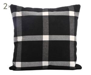 Set de 2 cojines de lana, blanco y negro – 40x40
