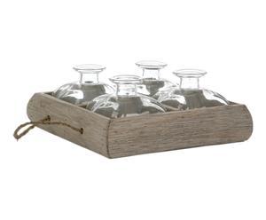 Set de 1 bandeja de madera y 4 botellas de vidrio