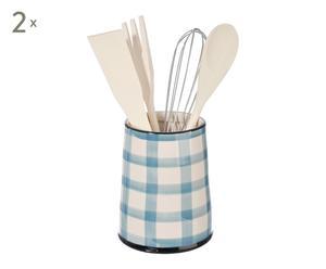 Set de 2 botes para utensilios de cocina en cerámica