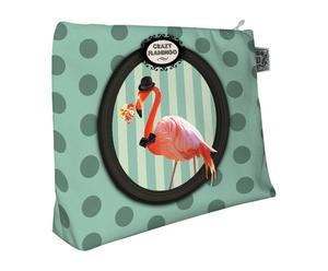Neceser Flamingo - verde y rosa
