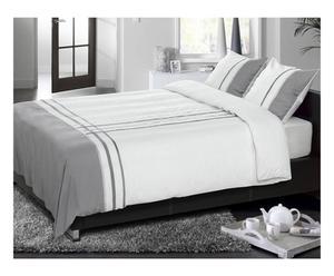 Set de funda nórdica y 2 fundas de almohada en algodón Descanso, gris y blanco – 240x220