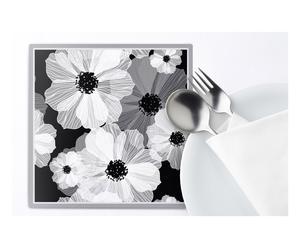 Set de 2 salvamanteles en vinilo Elba, negro y blanco - 20x20 cm
