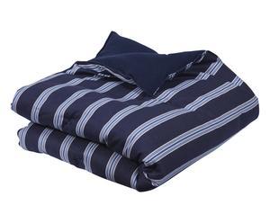 Edredón en algodón y poliéster Brighton, azul y blanco - 140x130