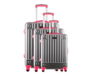 Set de 3 maletas trolley en policarbonato Neón – rosa y gris