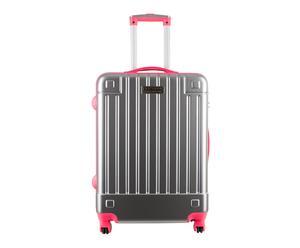 Maleta trolley en policarbonato Neón, rosa y gris – H50