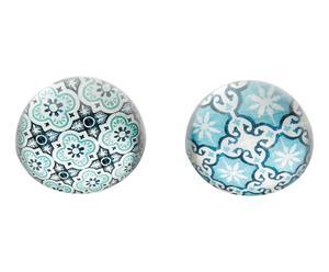 Set de 2 pisapapeles vidrio - azul
