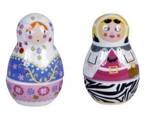 set de salero y pimentero de porcelana Russian