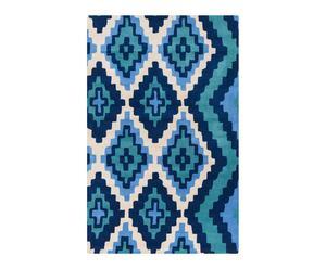 Alfombra de lana tejida a mano JIA, azul y turquesa– 91x60