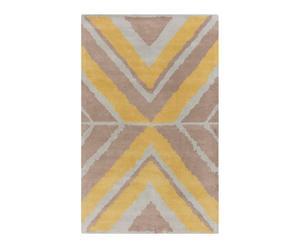 Alfombra de lana tejida a mano AJU, amarillo y topo– 91x60