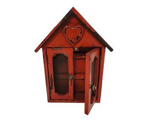 Portallaves en madera clave y hierro - rojo