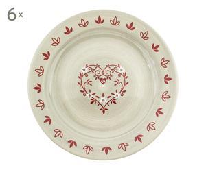6 platos de cerámica planas, blancas y rojas - Ø28 cm