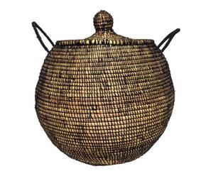 Cesta en lana y paja, negro - Ø45 cm