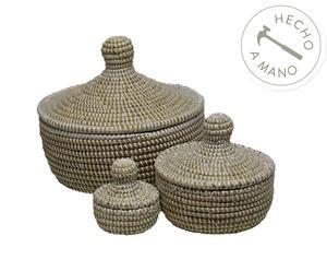 Set de 3 cajas nido en madera y paja - blanco