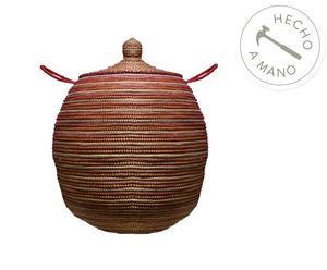 Cesta en madera y paja, fucsia - Ø50 cm