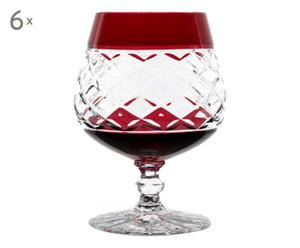 Set de 6 copas de coñac Epi cristal - rojo y transparente
