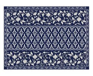 Alfombra en PVC y vinilo Fuma, azul marino y blanco - 60x80 cm
