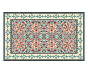 Alfombra en PVC y vinilo Joan, Rosa y verde - 70x120 cm