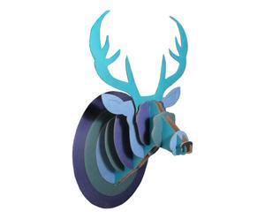 Cabeza de ciervo de cartón, azul - 38x67 cm