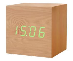 Reloj despertador Maxi Cube Beech - natural y verde