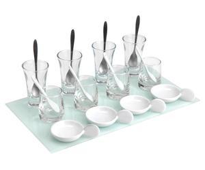 Plato rectangular con 12 copas de vidrio