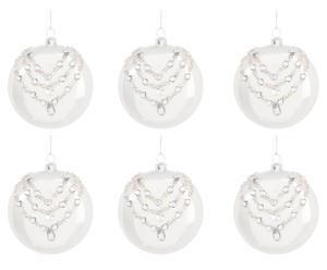 Set de 6 bolas de navidad de vidrio y strass