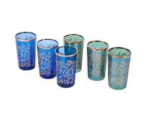 Set de 6 vasos de vidrio Pooja