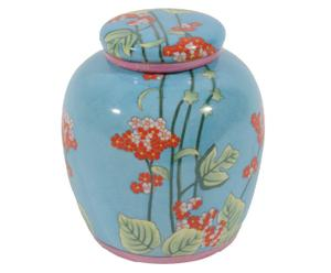 Jarrón de cerámica Flores - azul