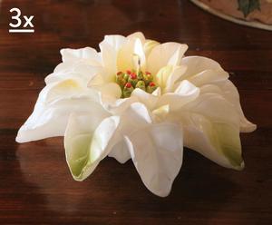 Juego de 3 velas Flor de Pascua - Blanco