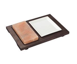 Placa rectangular de sal con una base de madera y TV