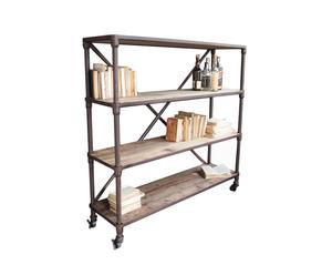 Librería de madera y hierro Vintage