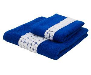 Juego de toalla de aseo y toalla de lavabo Roseline – Azul