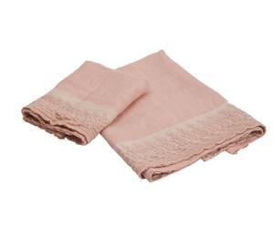 Juego de 2 toallas de lino Audie – Rosa